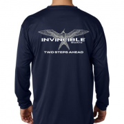 Invincible Boats Navy Long Sleeve Dry Fit-Back
