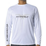 Invincible Boats White Long Sleeve Dry Fit-Front