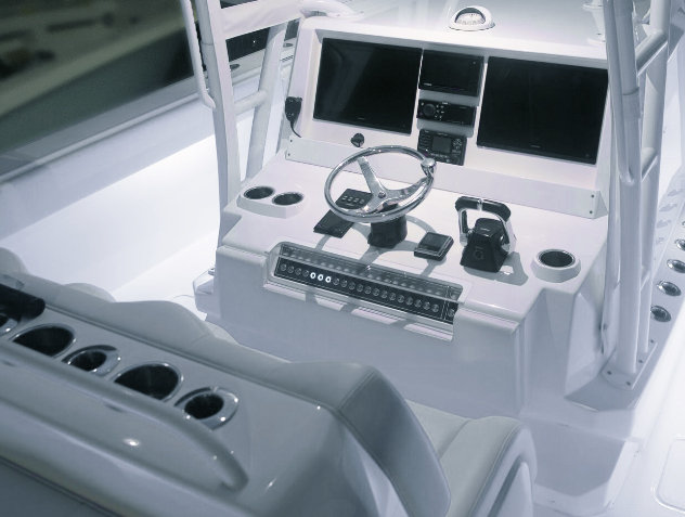 Invincible's innovative, state of the art console built for navigation on the ultimate 40 foot Catamaran.