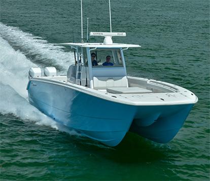Twin-hulled offshore fishing machine, the Invincible 37 foot Catamaran.