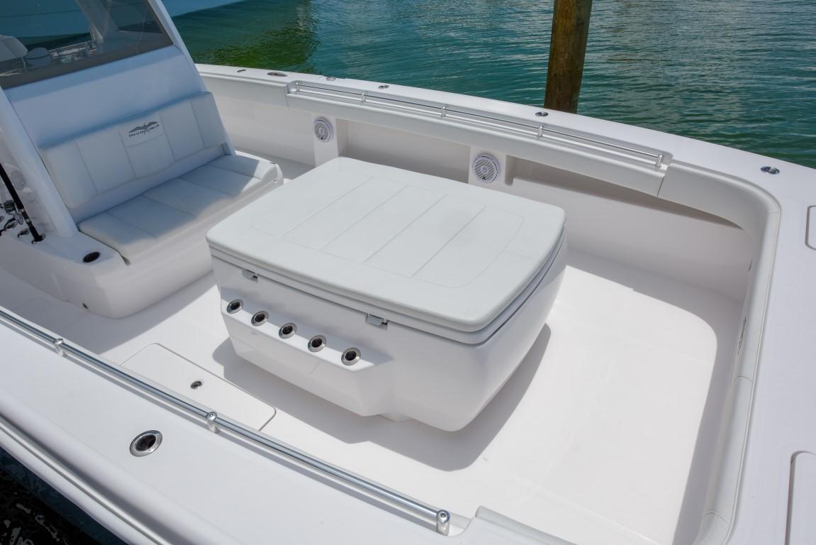 Maximum storage with custom rod holders on Invincible's 37 foot Catamaran.