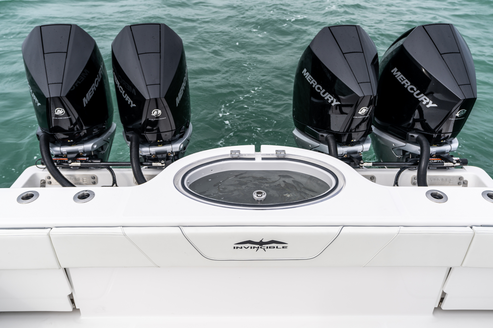 Invincible Boat's superior livewell on 35 ft. Catamaran.