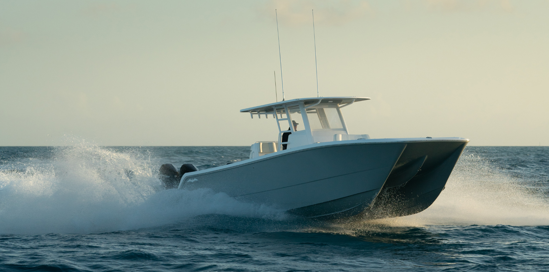 World-class 35 foot catamaran by Invincible Boats displaying perfectly designed twin hulls.