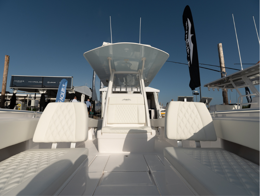 Invincible's 33 ft. center console with custom cushioned seating.