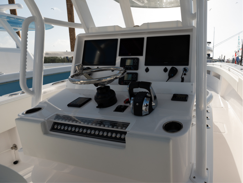 Deluxe console on 36 ft Open Fisherman with digital electronics & more.