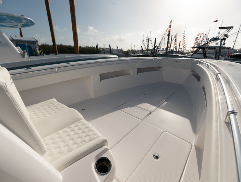 Customized 36 ft. center console Invincible bow layout.