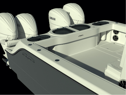 Transom rendering of Invincible's newest, next-level 46 foot Catamaran.