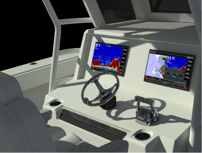 State of the art digital console navigational system and power steering on the bigger and better Invincible 46 ft. Catamaran.