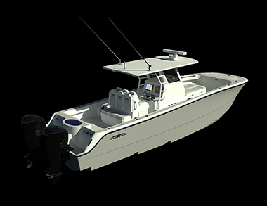 Black and white rendering of the newest powerhouse 33' Catamaran by Invincible Boats.